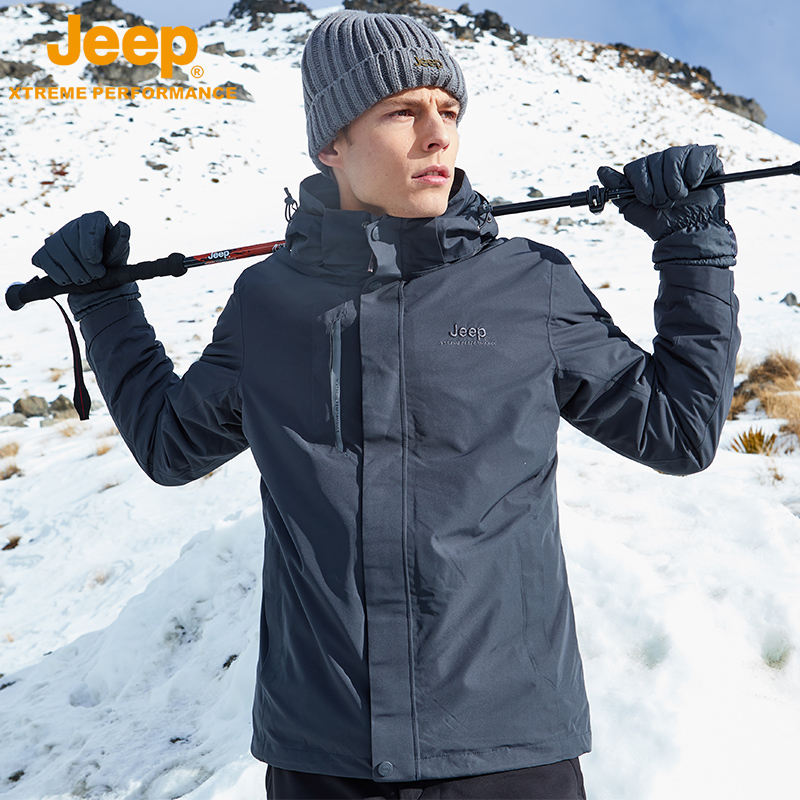 jeep flag shop official genuine outdoor stormclothing tide brand men's autumn and winter coat three-in-one plus thick climbing clothing