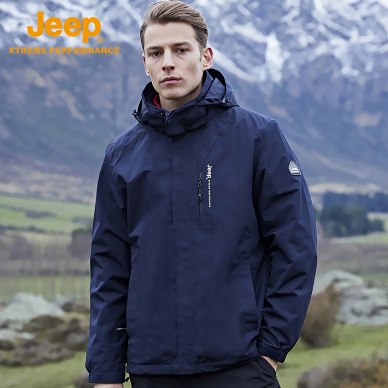 Jeep flag 艦 the official jeep outdoor tide brand storm jacket male climbing jacket three-in-one autumn and winter jacket.