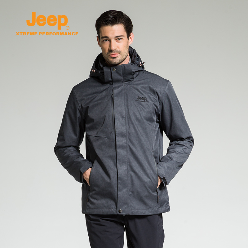 jeep flag 艦 shop official genuine jeep men's punching clothes two-piece set of hot brand outdoor warm waterproof jacket winter