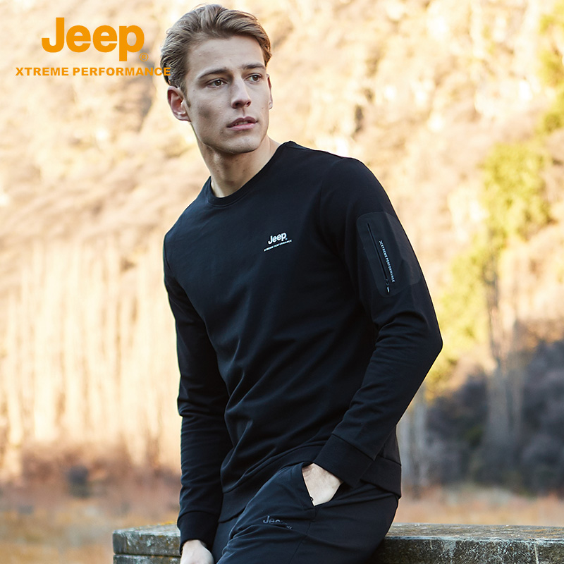 JEEP Jeep official autumn and winter new men's wear plus velvet round collar guard men's sweater green middle-aged coat