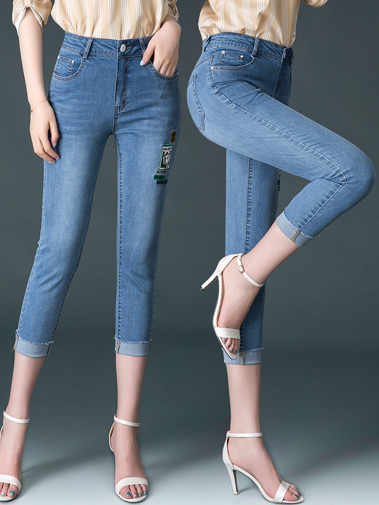 2019 summer New eights jeans women small men large size high waist thin cigarette tube pants thin pants