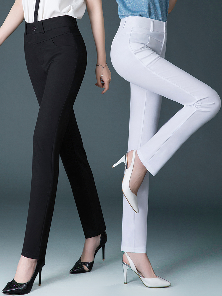 Summer straight pants loose middle-aged mother plus size white casual pants ladies high waist thin section suit pants trousers