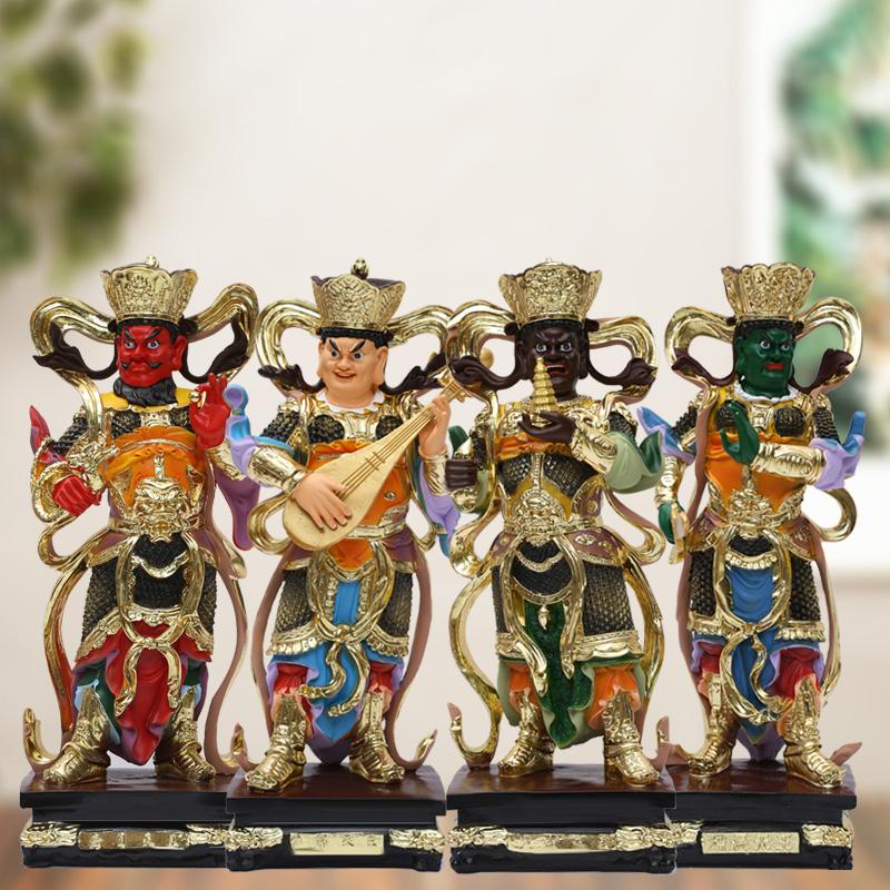 厂家直销树脂四大天王19寸48厘米古彩四大天王佛像托塔李天王神像