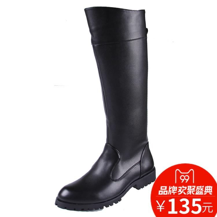 春季军靴男士靴靴子长皮靴软皮长筒马靴骑马仪仗队阅兵靴休闲高筒