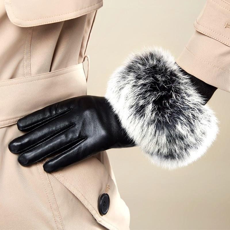 兔毛真皮羊皮手套秋冬季大毛口手套加绒加厚a兔毛女士开车防风触屏