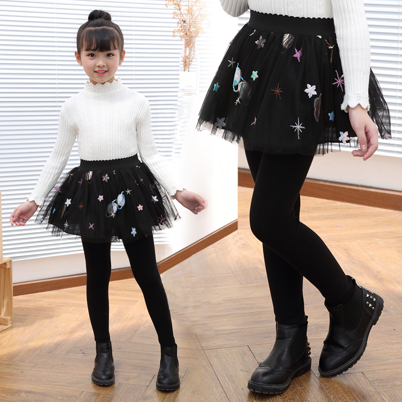 Children's leggings Spring and Autumn 2019 new girls pure cotton air fake two-piece skirt pants girls wear skirt pants.