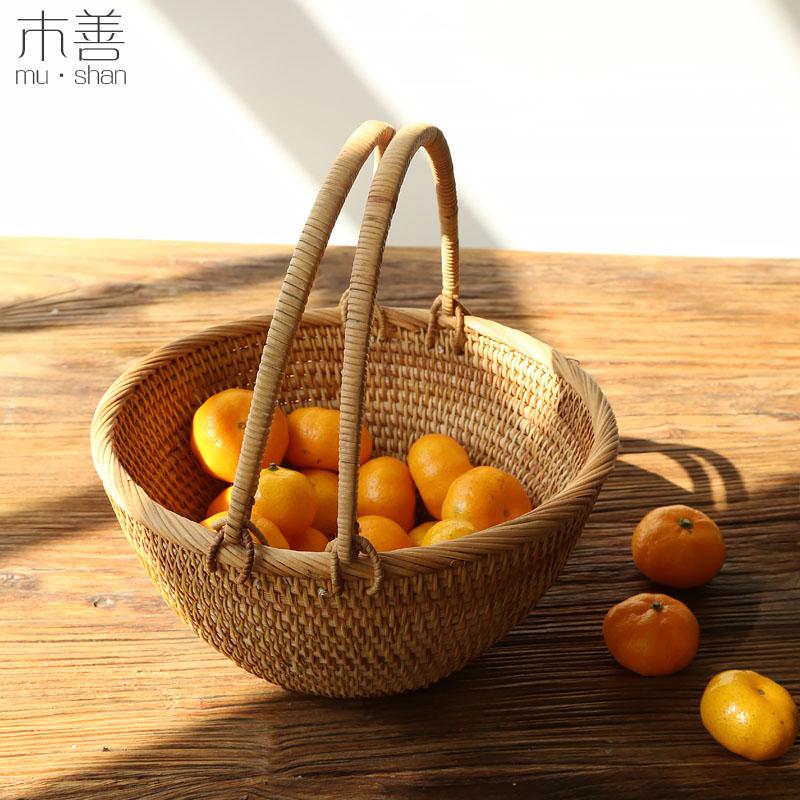 [USD 33.71] Wooden Rattan Basket Egg Basket Picking Basket