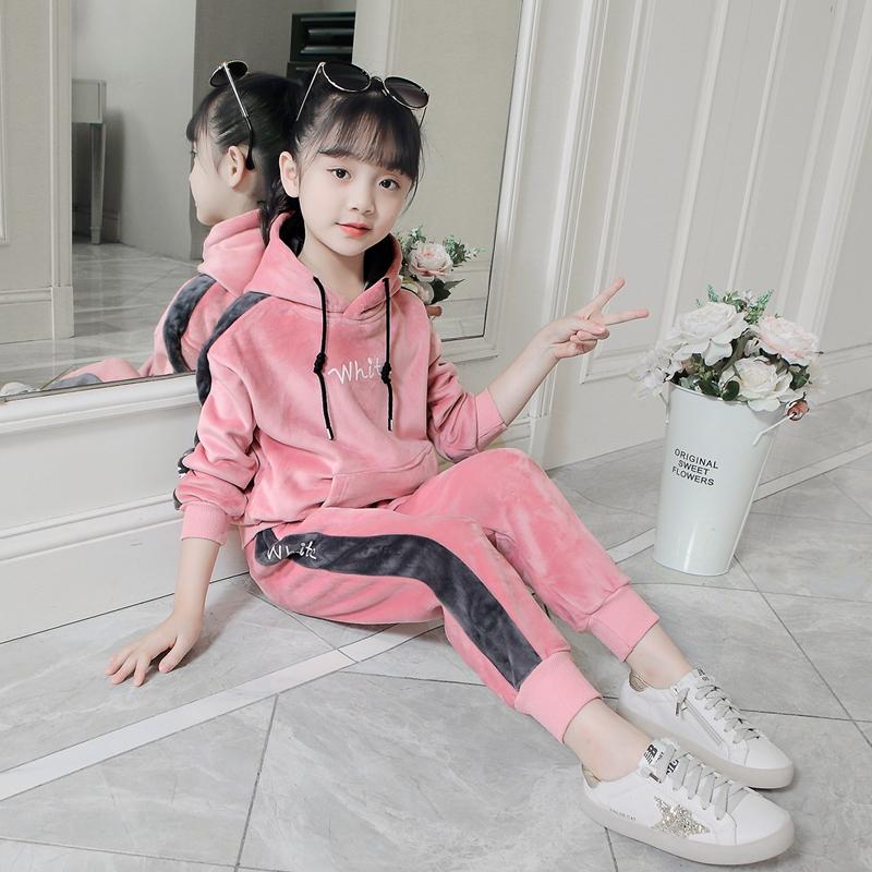 女童秋装套装2019新款洋气冬装金丝绒加绒加厚儿童卫衣服两件套潮