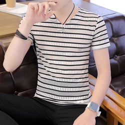 Men's ice silk short-sleeved t-shirt V-neck summer thin section breathable hollow mesh quick-drying clothes ultra-thin mesh t-shirt
