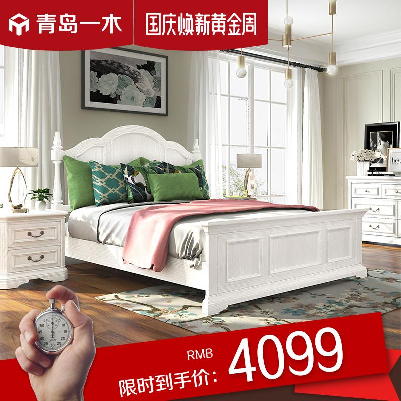 青島一木 美式床歐式雙人床1.8米主臥大床白色實木床公主床橡木床