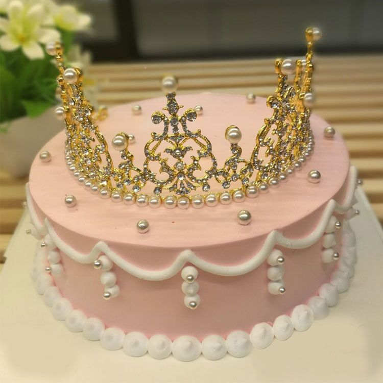 Birthday Cake Decoration Crown Pearl Crown Baby With Party Dress Up