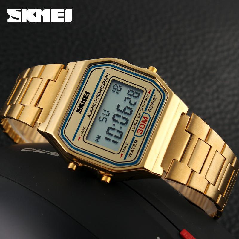 SKMEI超薄深度手表嘻哈欧美钢带电子表经典防水v超薄计时男表1123