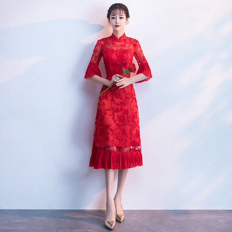 990b2c478 Bride toast clothing cheongsam 2019 new summer red back door ...