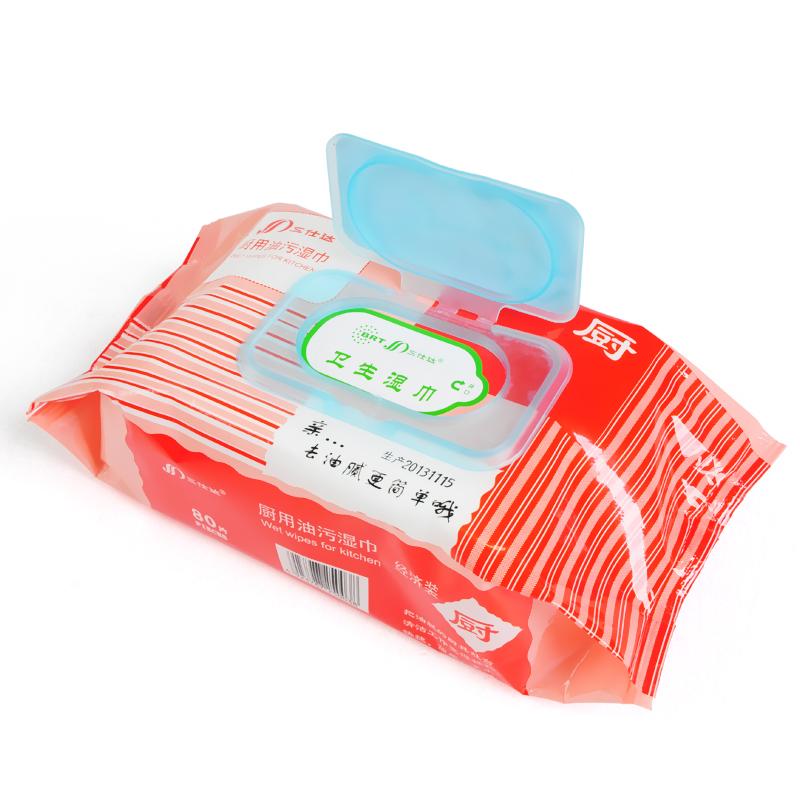 三仕达厨房湿纸巾去污80片*3包-优惠价15元销量726件