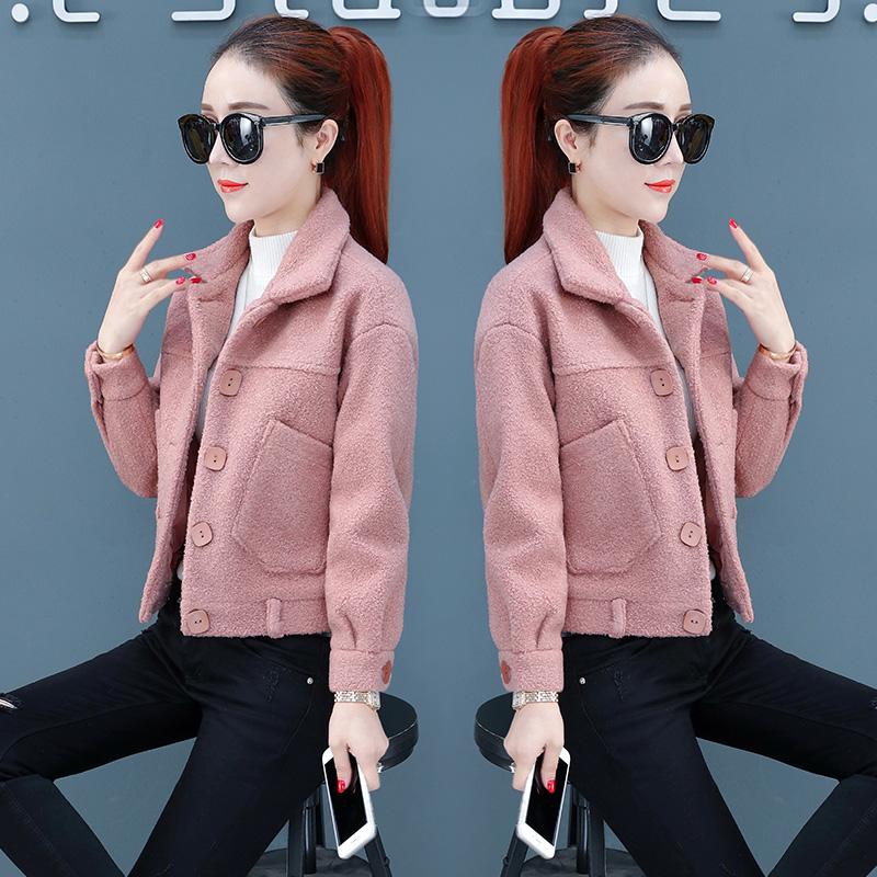 外套女秋冬季2018秋装新款韩版秋季短款上衣羊羔毛百搭加厚夹克潮
