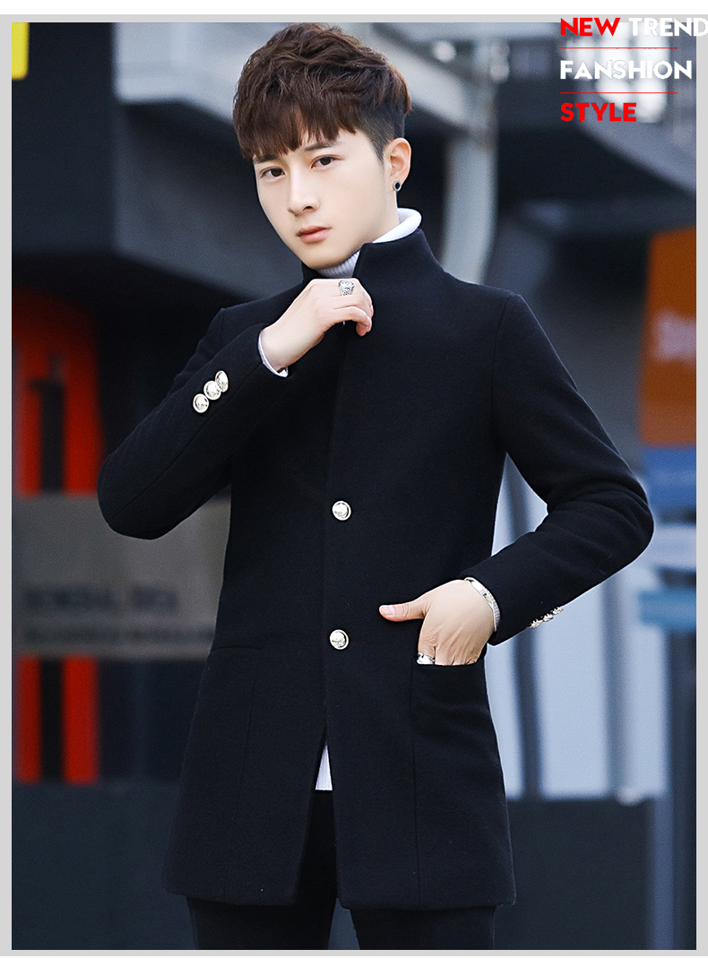 Winter 2020 new trend fashion men's hair coat in the long handsome male youth cotton coat 62 Online shopping Bangladesh