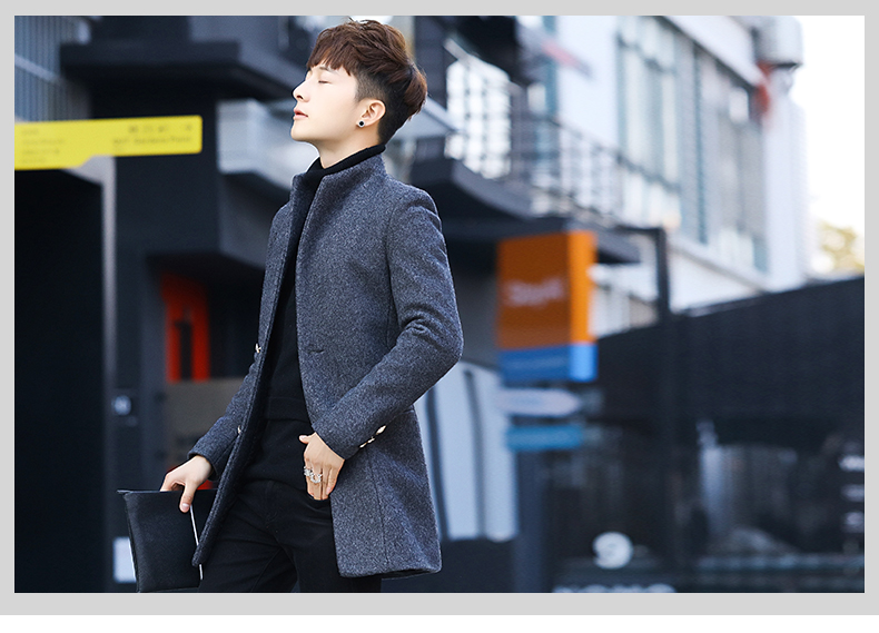 Winter 2020 new trend fashion men's hair coat in the long handsome male youth cotton coat 52 Online shopping Bangladesh