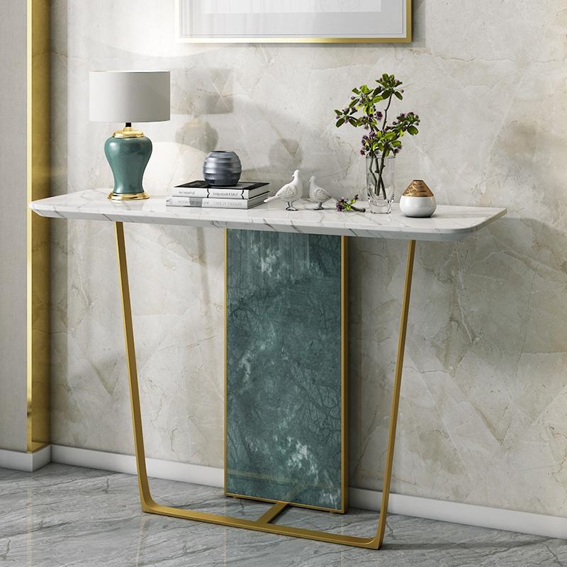 北欧大理石玄关桌子靠长条窄桌后现代简约沙发轻奢墙边台玄关背几