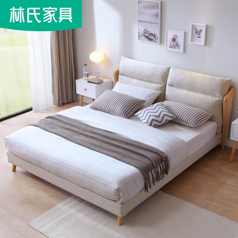 北歐風格實木腳大床現代簡約布藝床1.8米主臥雙人床1.5網紅床R272