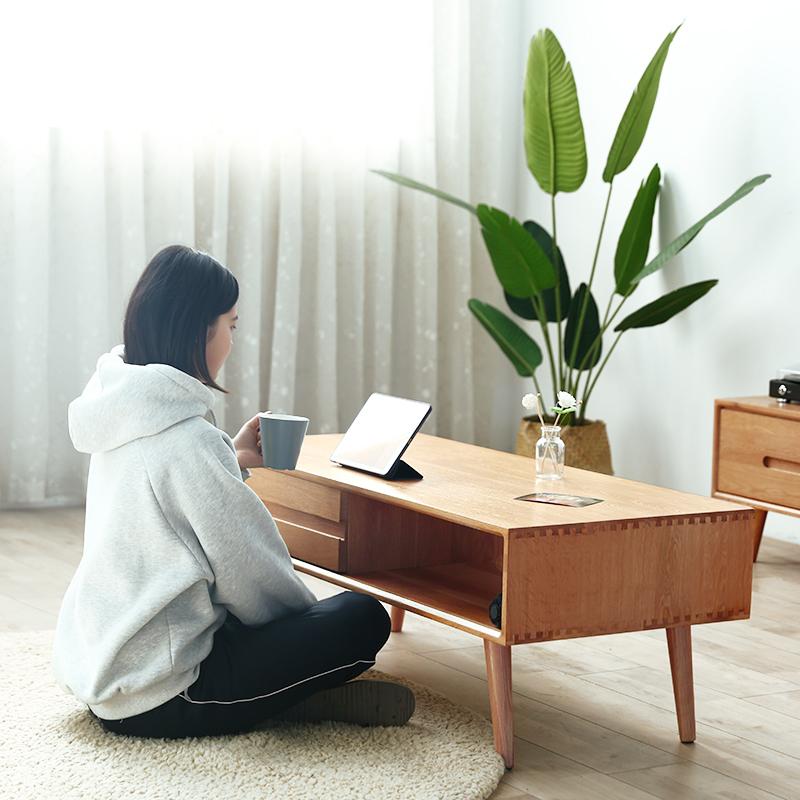 Bàn cà phê Bắc Âu đơn giản hiện đại gỗ rắn phòng khách căn hộ nhỏ gỗ sồi bàn cà phê nhà có ngăn kéo lưu trữ đồ nội thất Nhật Bản - Bàn trà