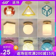 Creative modern minimalist solid wood art ceiling lamp home entrance hallway corridor lights new Chinese balcony lamp bedroom lamp