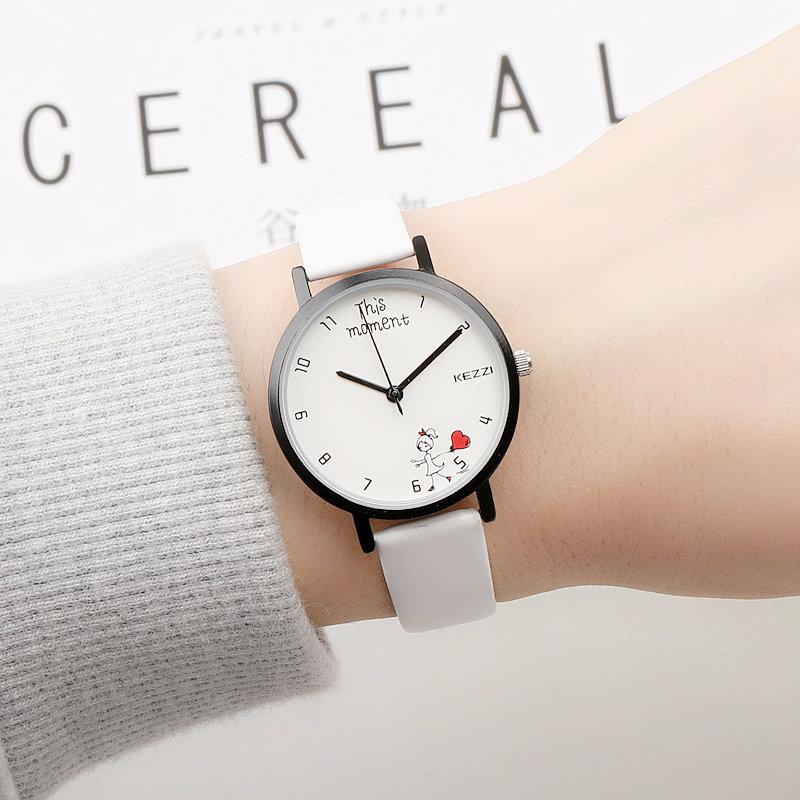 Милый мультики корейский простой наручные часы девушка небольшой студент мальчиков девочки кожаный ремень модное платье случайный кварц наручные часы