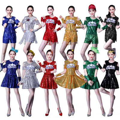 Jazz Dance Costumes Square Dance Costume Adult Female Suit Sequined Skirt Dancing Jazz Dance Costume Modern Dance Costume