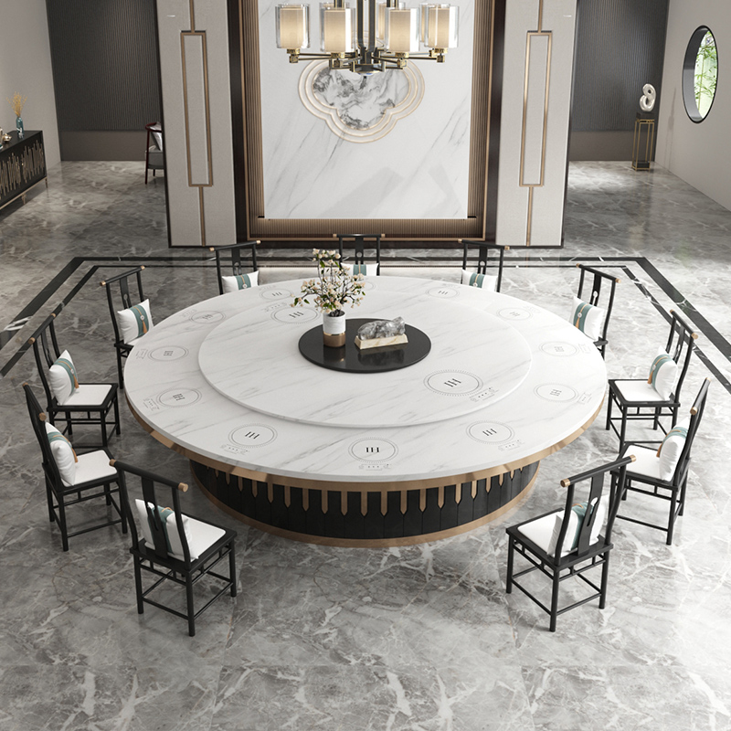 Yuhuangcheng electric dining table Large round table Marble dining table New Chinese hot pot table Hotel automatic 20-person 15-person table