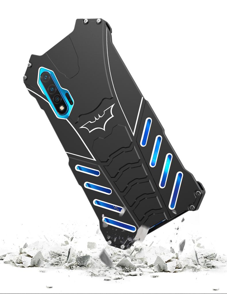 R-Just Batman Shockproof Aluminum Shell Metal Case with Custom Batarang Stent for Huawei nova 6 5G & Huawei nova 6 SE