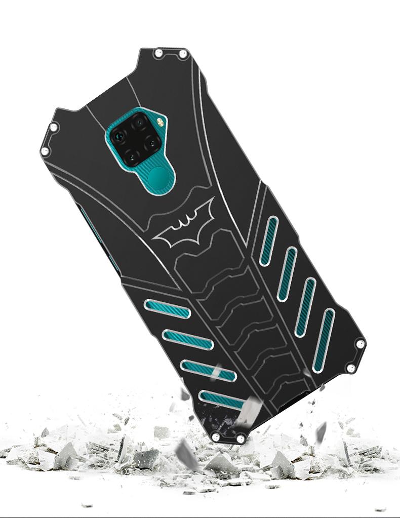 R-Just Batman Shockproof Aluminum Shell Metal Case with Custom Batarang Stent for Huawei nova 5i Pro