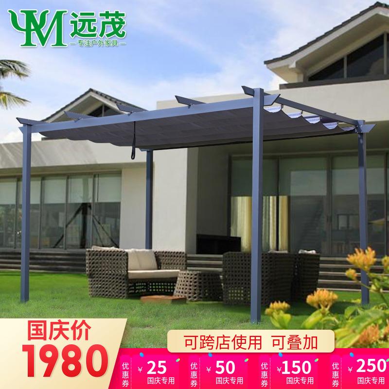 花園鋁合金葡萄架簡易涼亭庭院防腐木亭子不銹鋼鐵藝遮陽棚戶外