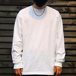 250g heavyweight cotton t-shirt men's long sleeve solid color with T-shirt loose top men's white base shirt fashion ins