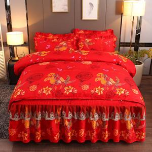 婚庆加厚加密100%全棉纯棉磨毛被套床单被罩床裙4四件套床上用品