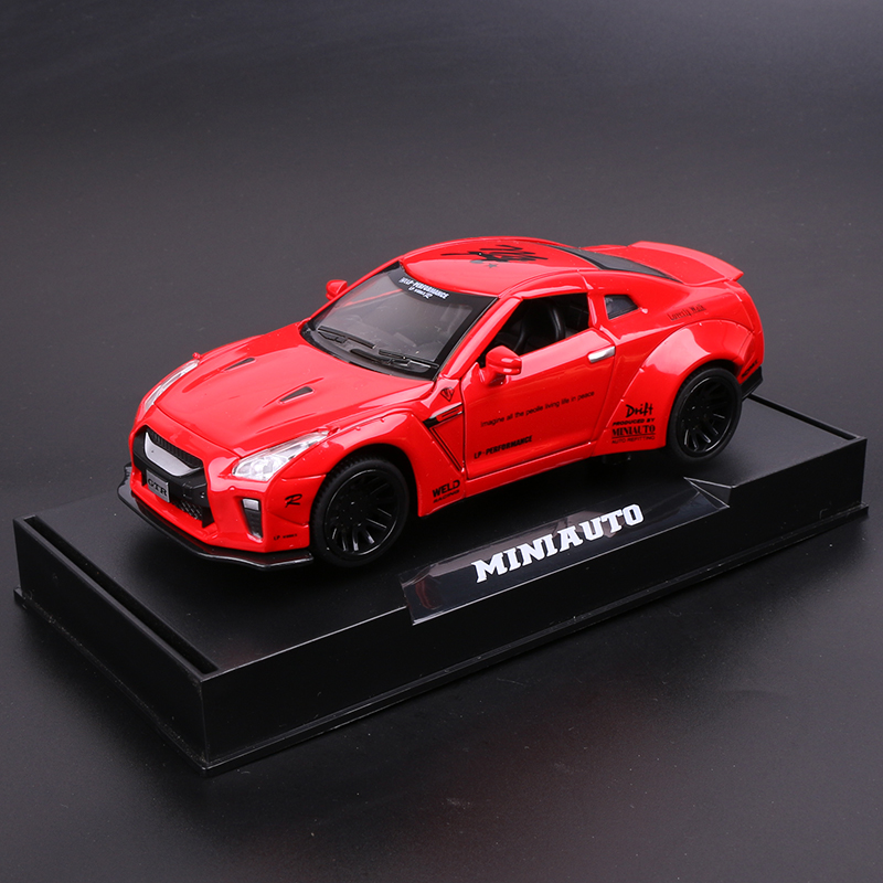 NISSAN GTR  RED  BOXED + BASE