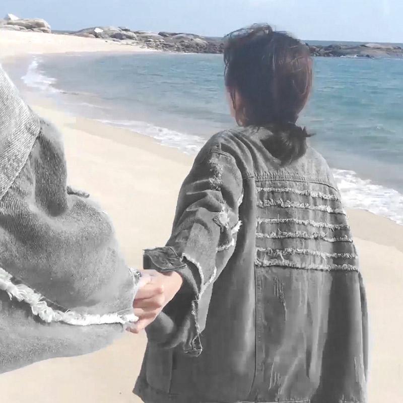 外套牛仔男潮流款2019新款韩版情侣秋季一套搭配帅气bf套装夹克男