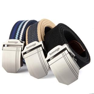 男士帆布腰带平滑扣自动扣皮带