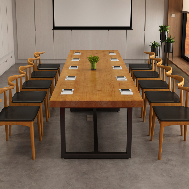 Loft Large Solid Wood Conference Table Long Table Simple Modern Long - Long meeting table