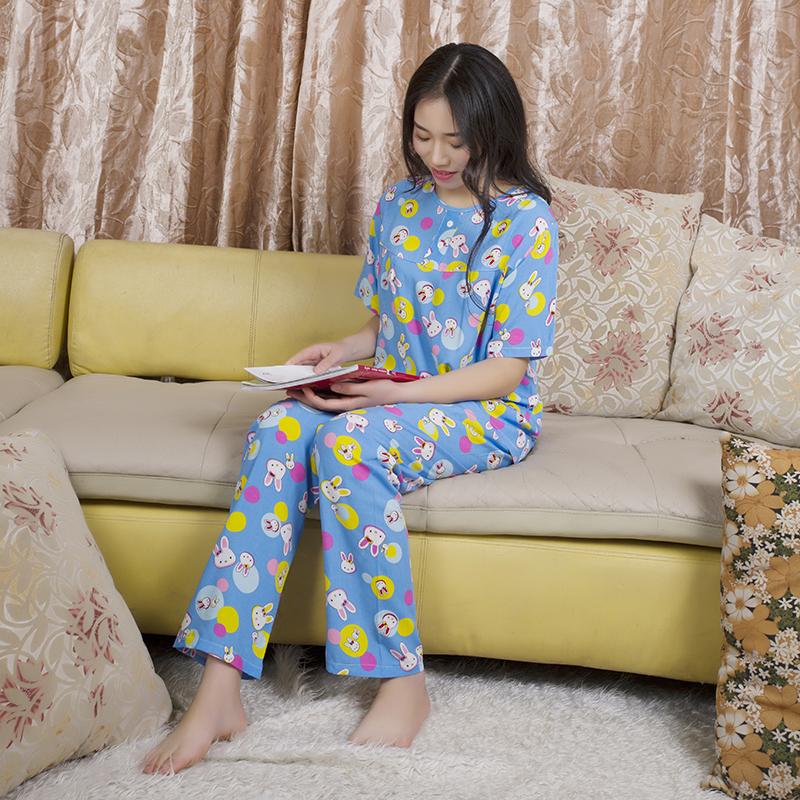 绵绸睡衣女夏韩版胖MM宽松可外穿大码纯棉家居服短袖长裤两件套装9张
