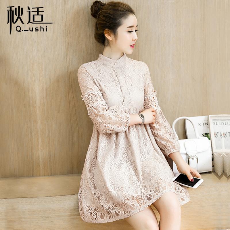 Кружевной длинный рукав Платье вечернее платье женщин 2018 осень новая коллекция волна корейская версия Малая мужская юбка комплект юбка