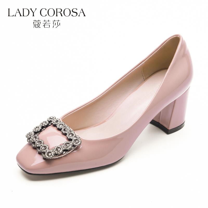 蔻若莎秋季新款方头女鞋中跟水钻职业工作鞋