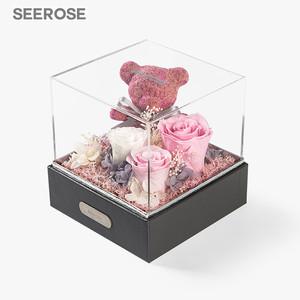 SEEROSE进口永生花苔藓玫瑰小熊礼盒摆件伴手情人节纪念生日礼物