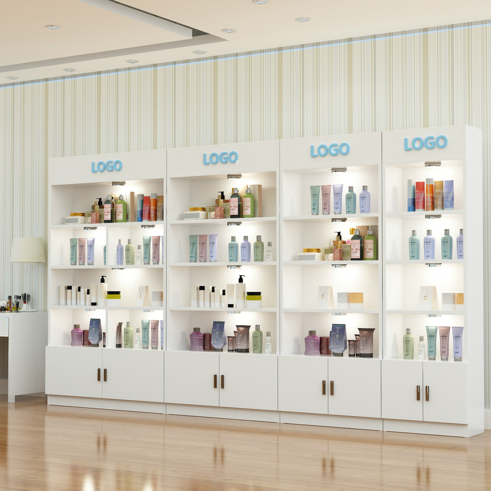 Cosmetics Cabinet Display Showcase Container Shelves Beauty Salon Products Rack With Lights