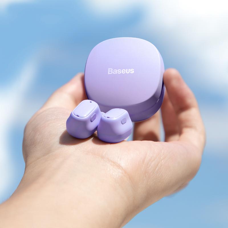 倍思蓝牙耳机真无线入耳式迷你隐形适用于苹果超长待机听歌vivo华为专用运动跑步小型降噪小米双耳紫2021新款