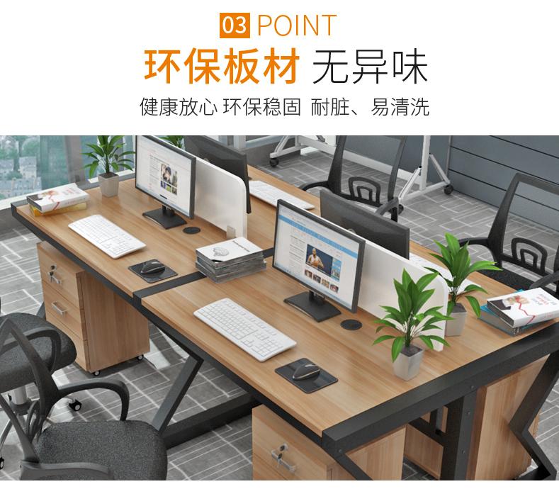 职员办公桌电脑桌四人位办公室工位简约现代屏风卡座桌椅组合详细照片