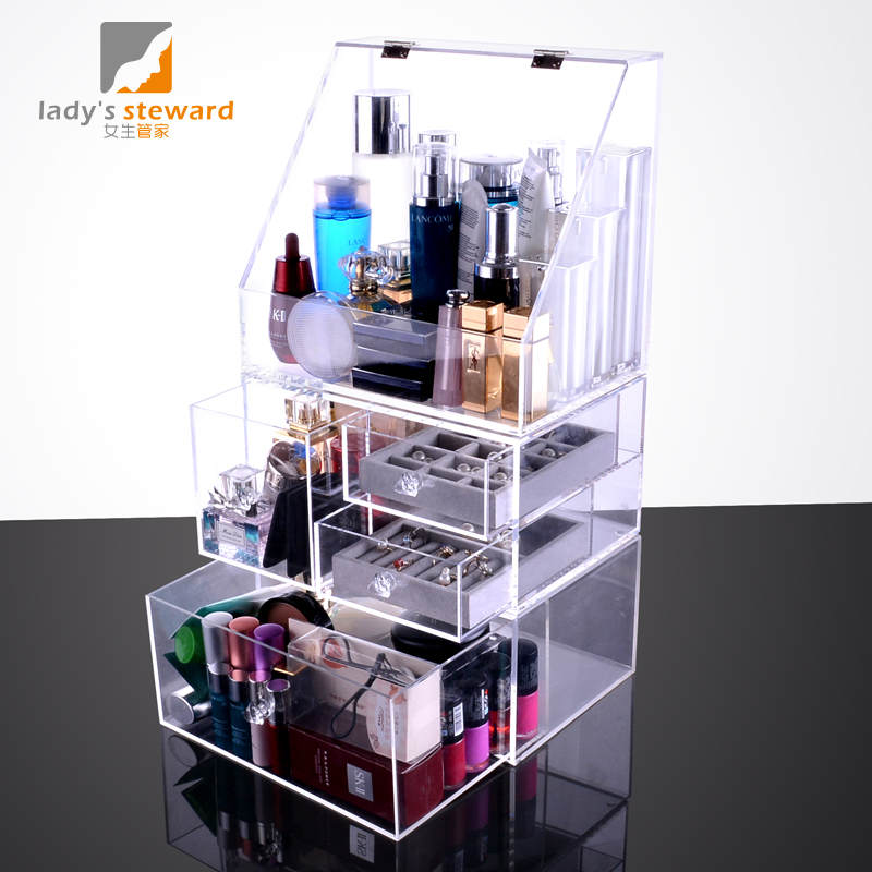 Acrylic Cosmetic Storage Box Clamshell Dust Storage Box Transparent Desktop  Cosmetic Box