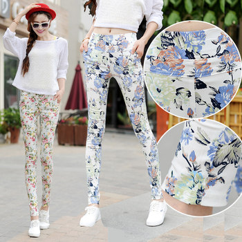 2020 new spring flower pants fight Waichuan Slim thin stretch pants feet female floral flowers printed trousers tide