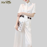 Two-piece female summer new style temperament professional red short-sleeved shirt shirt thin wide-leg pants fashion suit women