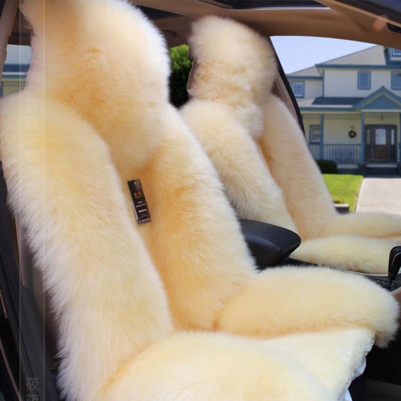 Подушка для автомобильных сидений зимний овечья шерсть Подушка сиденья овечья шерсть наборы Покататься кожа с мехом Подушка сиденья плюшевые Крышка сиденья