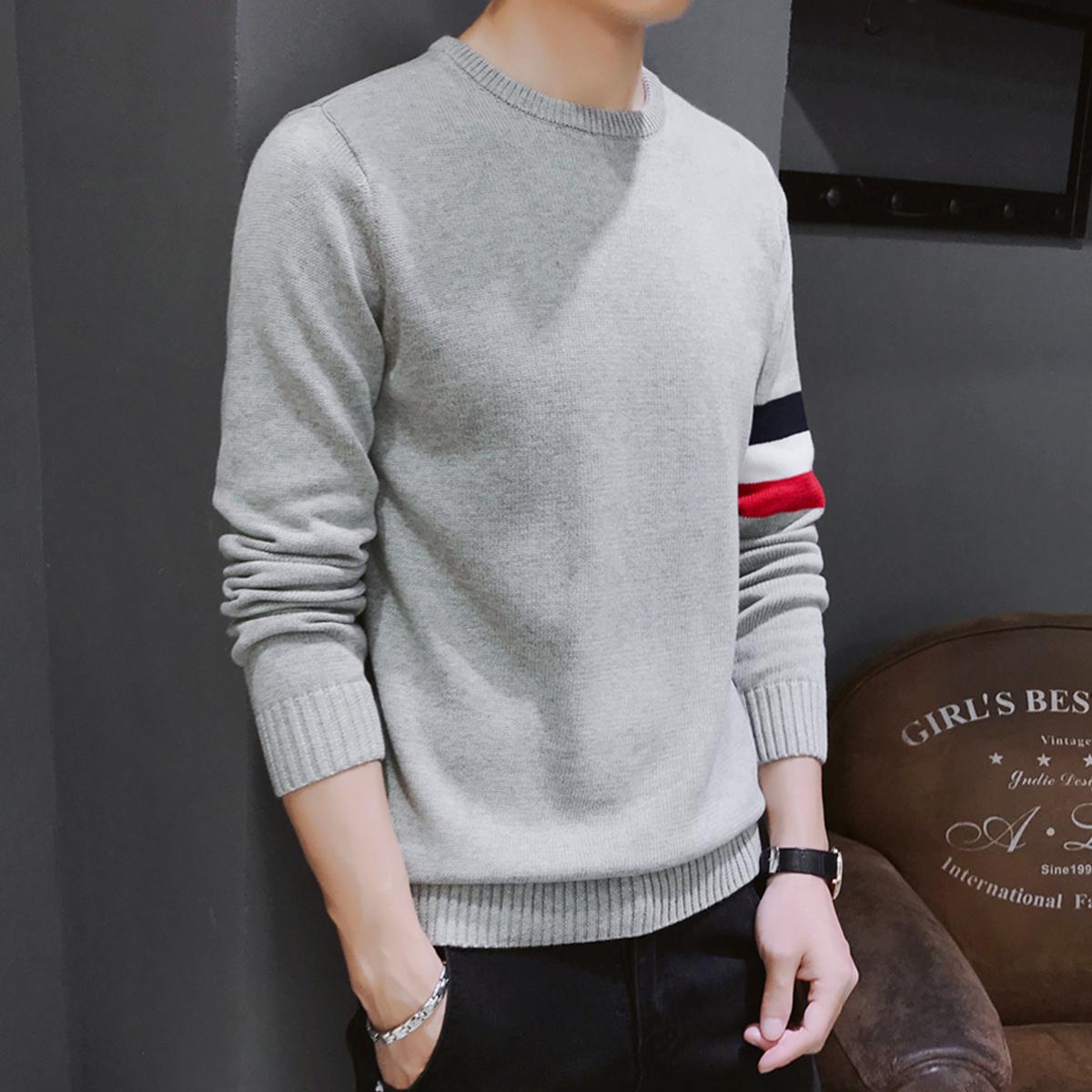 2件】冬季毛衣男士加绒加厚韩版针织打底衫2018新款圆领保暖线衣