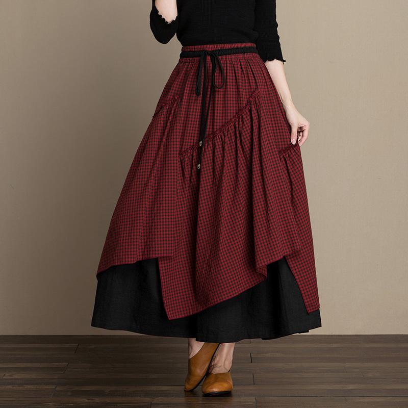 不规则复古女装格子裙2018秋季新款拼接半身蓬蓬裙中长款v女装冬裙